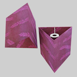 Triangle Lamp Shade - P25 - Resistance Dyed Pink Fern, 20cm(w) x 20cm(h)