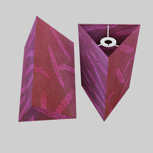 Triangle Lamp Shade - P25 - Resistance Dyed Pink Fern, 20cm(w) x 30cm(h)