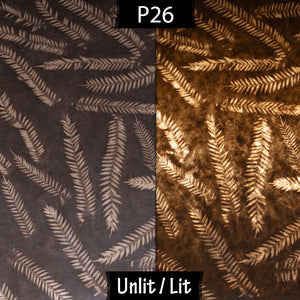 Drum Lamp Shade - P26 - Resistance Dyed Brown Fern, 15cm(d) x 20cm(h)