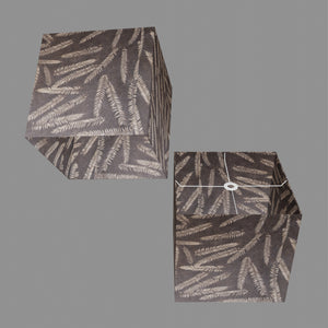Square Lamp Shade - P26 - Resistance Dyed Brown Fern, 40cm(w) x 40cm(h) x 40cm(d)