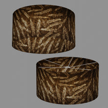 Drum Lamp Shade - P26 - Resistance Dyed Brown Fern, 60cm(d) x 30cm(h)
