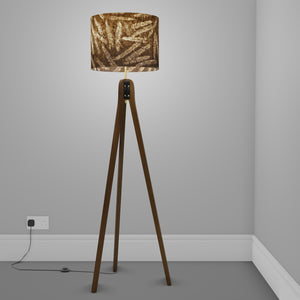 Sapele Tripod Floor Lamp - P26 - Resistance Dyed Brown Fern