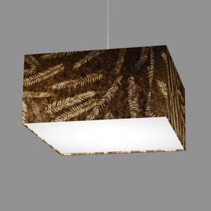 Square Lamp Shade - P26 - Resistance Dyed Brown Fern, 40cm(w) x 20cm(h) x 40cm(d)