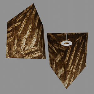 Triangle Lamp Shade - P26 - Resistance Dyed Brown Fern, 20cm(w) x 20cm(h)