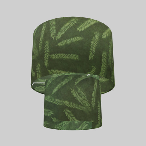 2 Tier Lamp Shade - P27 - Resistance Dyed Green Fern, 30cm x 20cm & 20cm x 15cm