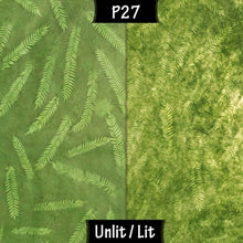 Rectangle Lamp Shade - P27 - Resistance Dyed Green Fern, 30cm(w) x 30cm(h) x 15cm(d) - Imbue Lighting