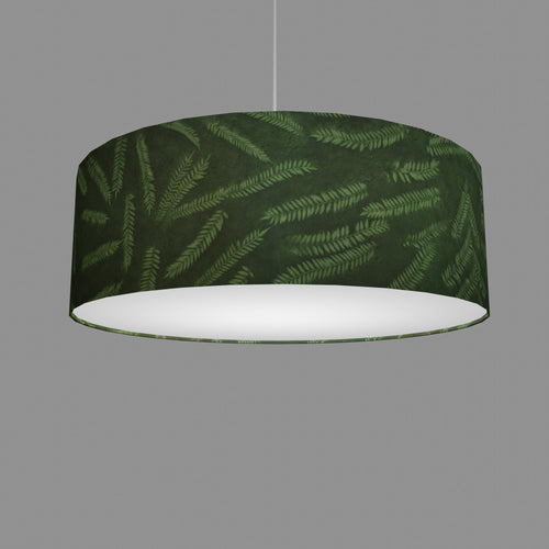 Drum Lamp Shade - P27 - Resistance Dyed Green Fern, 60cm(d) x 20cm(h)