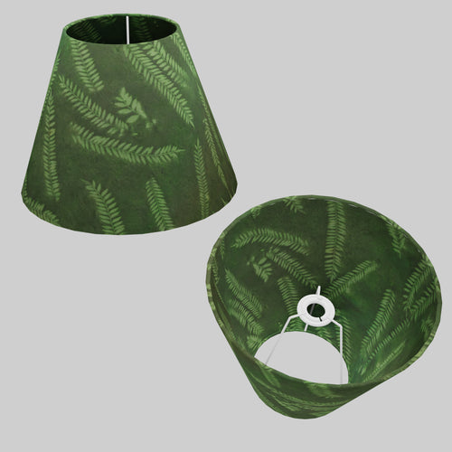 Conical Lamp Shade P27 - Resistance Dyed Green Fern, 15cm(top) x 30cm(bottom) x 22cm(height)