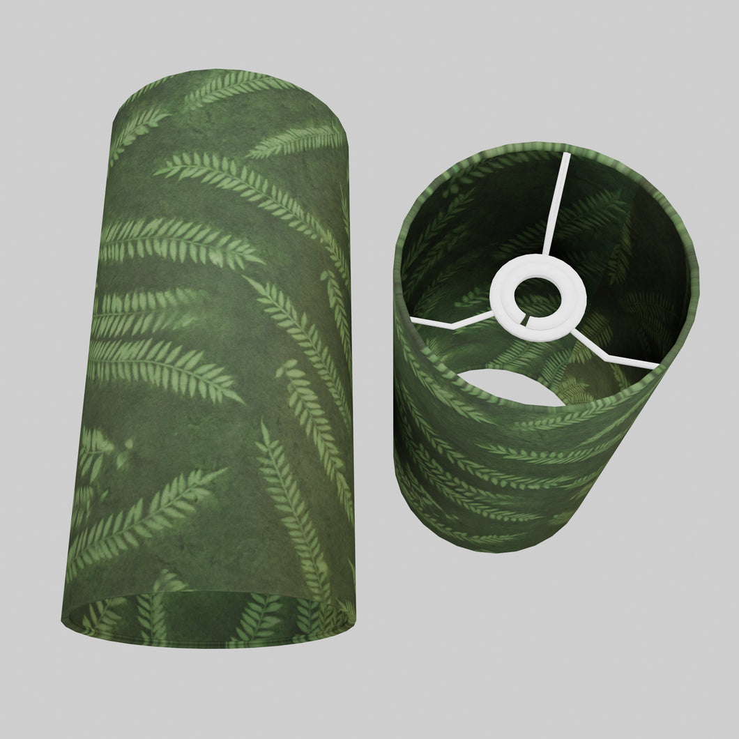 Drum Lamp Shade - P27 - Resistance Dyed Green Fern, 15cm(d) x 30cm(h)