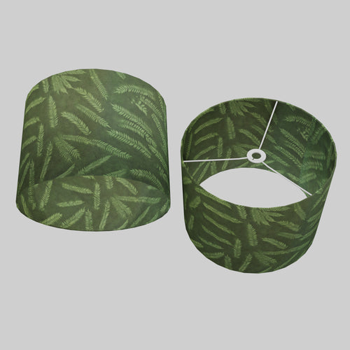 Drum Lamp Shade - P27 - Resistance Dyed Green Fern, 40cm(d) x 30cm(h)