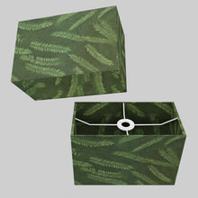 Rectangle Lamp Shade - P27 - Resistance Dyed Green Fern, 30cm(w) x 20cm(h) x 15cm(d)