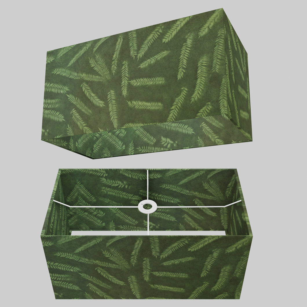 Rectangle Lamp Shade - P27 - Resistance Dyed Green Fern, 50cm(w) x 25cm(h) x 25cm(d)