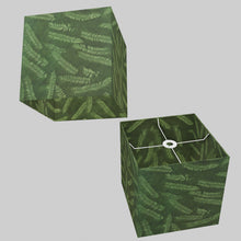 Square Lamp Shade - P27 - Resistance Dyed Green Fern, 30cm(w) x 30cm(h) x 30cm(d)