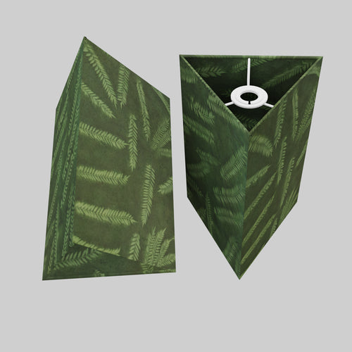 Triangle Lamp Shade - P27 - Resistance Dyed Green Fern, 20cm(w) x 30cm(h)