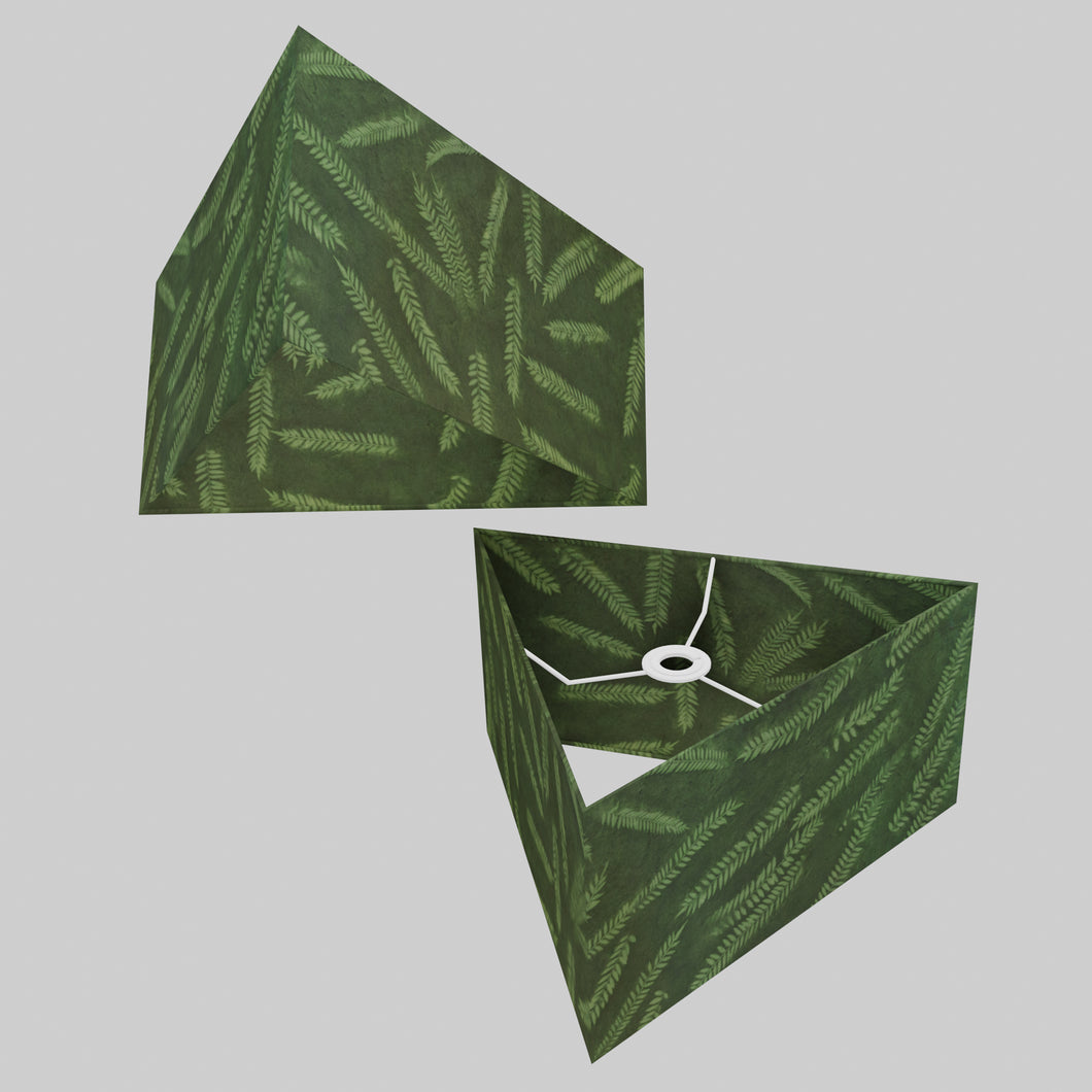 Triangle Lamp Shade - P27 - Resistance Dyed Green Fern, 40cm(w) x 20cm(h)