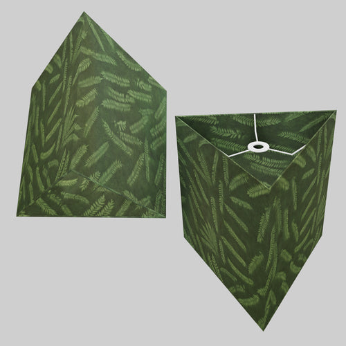 Triangle Lamp Shade - P27 - Resistance Dyed Green Fern, 40cm(w) x 40cm(h)