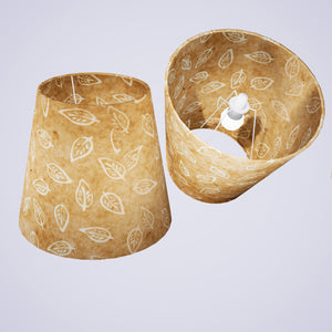 Conical Lamp Shade P28 - Batik Leaf on Natural, 23cm(top) x 35cm(bottom) x 31cm(height)