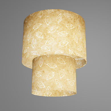 2 Tier Lamp Shade - P28 - Batik Leaf on Natural, 30cm x 20cm & 20cm x 15cm