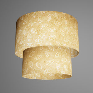 2 Tier Lamp Shade - P28 - Batik Leaf on Natural, 40cm x 20cm & 30cm x 15cm