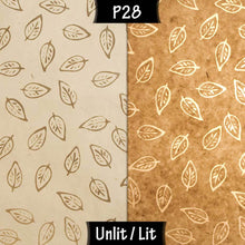 Oval Lamp Shade - P28 - Batik Leaf on Natural, 20cm(w) x 20cm(h) x 13cm(d)