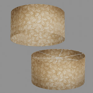 Drum Lamp Shade - P28 - Batik Leaf on Natural, 60cm(d) x 30cm(h)
