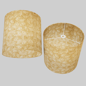 Drum Lamp Shade - P28 - Batik Leaf on Natural, 40cm(d) x 40cm(h)