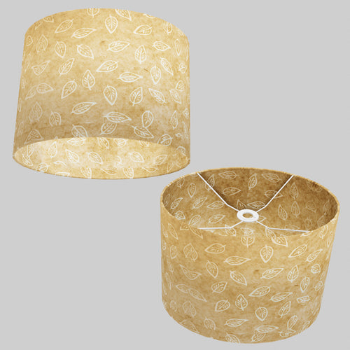 Oval Lamp Shade - P28 - Batik Leaf on Natural, 40cm(w) x 30cm(h) x 30cm(d)