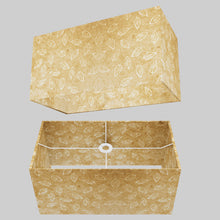 Rectangle Lamp Shade - P28 - Batik Leaf on Natural, 50cm(w) x 25cm(h) x 25cm(d)