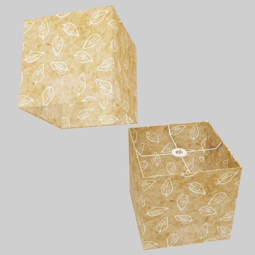 Square Lamp Shade - P28 - Batik Leaf on Natural, 30cm(w) x 30cm(h) x 30cm(d)