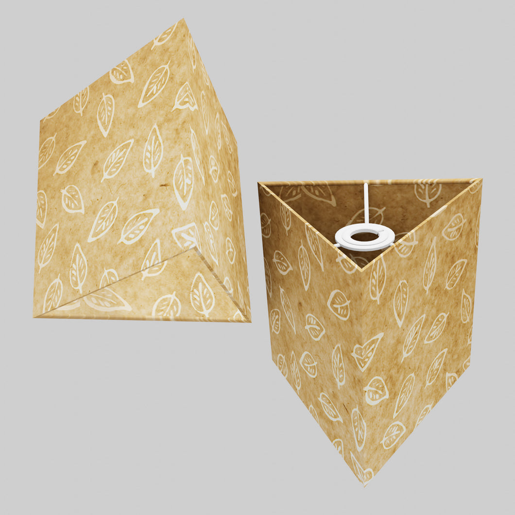 Triangle Lamp Shade - P28 - Batik Leaf on Natural, 20cm(w) x 20cm(h)