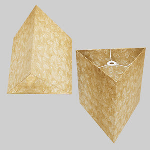 Triangle Lamp Shade - P28 - Batik Leaf on Natural, 40cm(w) x 40cm(h)