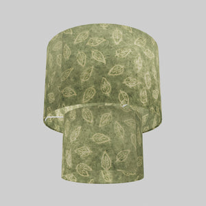 2 Tier Lamp Shade - P29 - Batik Leaf on Green, 30cm x 20cm & 20cm x 15cm