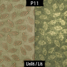 Drum Lamp Shade - P29 - Batik Leaf on Green, 60cm(d) x 30cm(h)