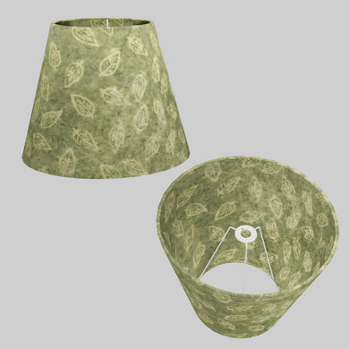 Conical Lamp Shade P29 - Batik Leaf on Green, 23cm(top) x 40cm(bottom) x 31cm(height)