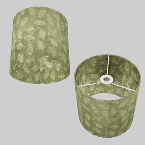Drum Lamp Shade - P29 - Batik Leaf on Green, 25cm x 25cm
