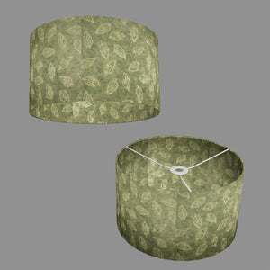Drum Lamp Shade - P29 - Batik Leaf on Green, 35cm(d) x 20cm(h)