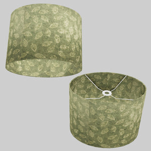 Oval Lamp Shade - P29 - Batik Leaf on Green, 40cm(w) x 30cm(h) x 30cm(d)