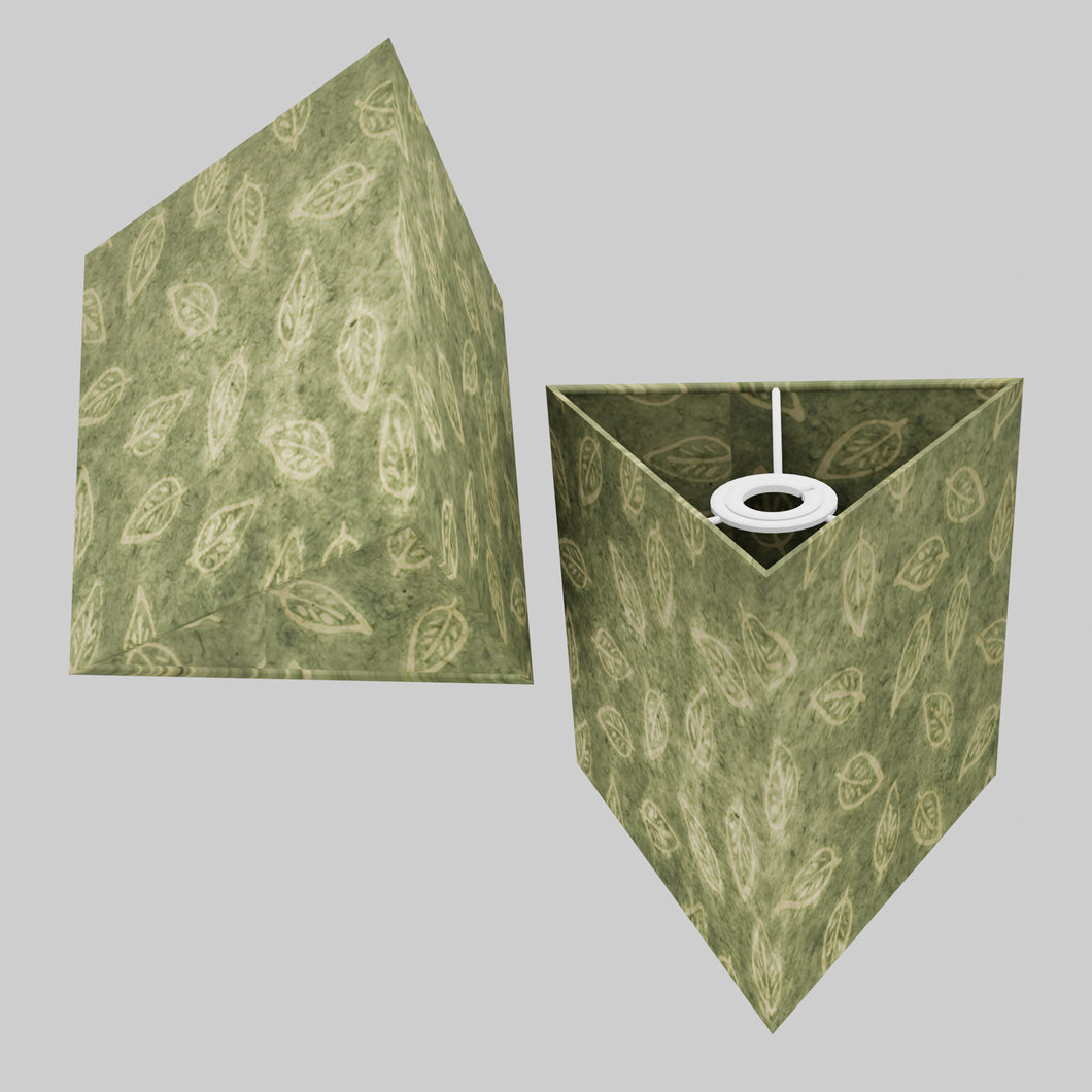 Triangle Lamp Shade - P29 - Batik Leaf on Green, 20cm(w) x 20cm(h)