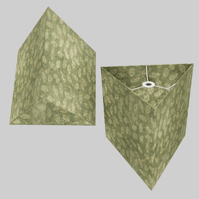 Triangle Lamp Shade - P29 - Batik Leaf on Green, 40cm(w) x 40cm(h)