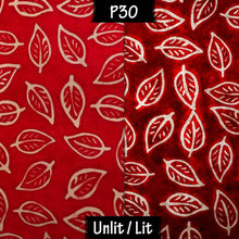 Oval Lamp Shade - P30 - Batik Leaf on Red, 30cm(w) x 30cm(h) x 22cm(d)