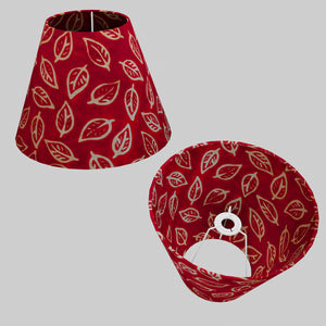 Conical Lamp Shade P30 - Batik Leaf on Red, 15cm(top) x 30cm(bottom) x 22cm(height)
