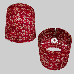 Drum Lamp Shade - P30 - Batik Leaf on Red, 25cm x 25cm