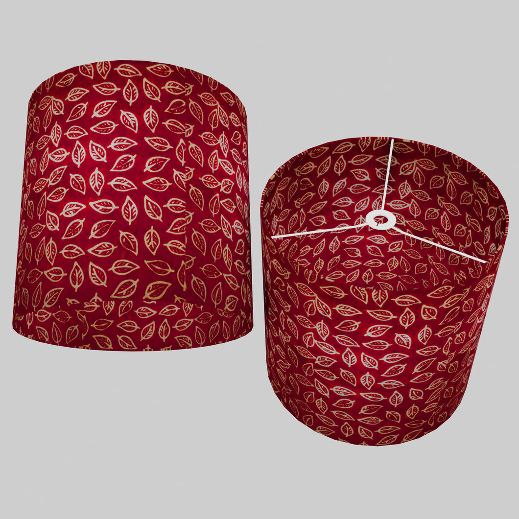 Drum Lamp Shade - P30 - Batik Leaf on Red, 40cm(d) x 40cm(h)
