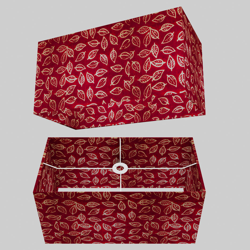 Rectangle Lamp Shade - P30 - Batik Leaf on Red, 50cm(w) x 25cm(h) x 25cm(d)