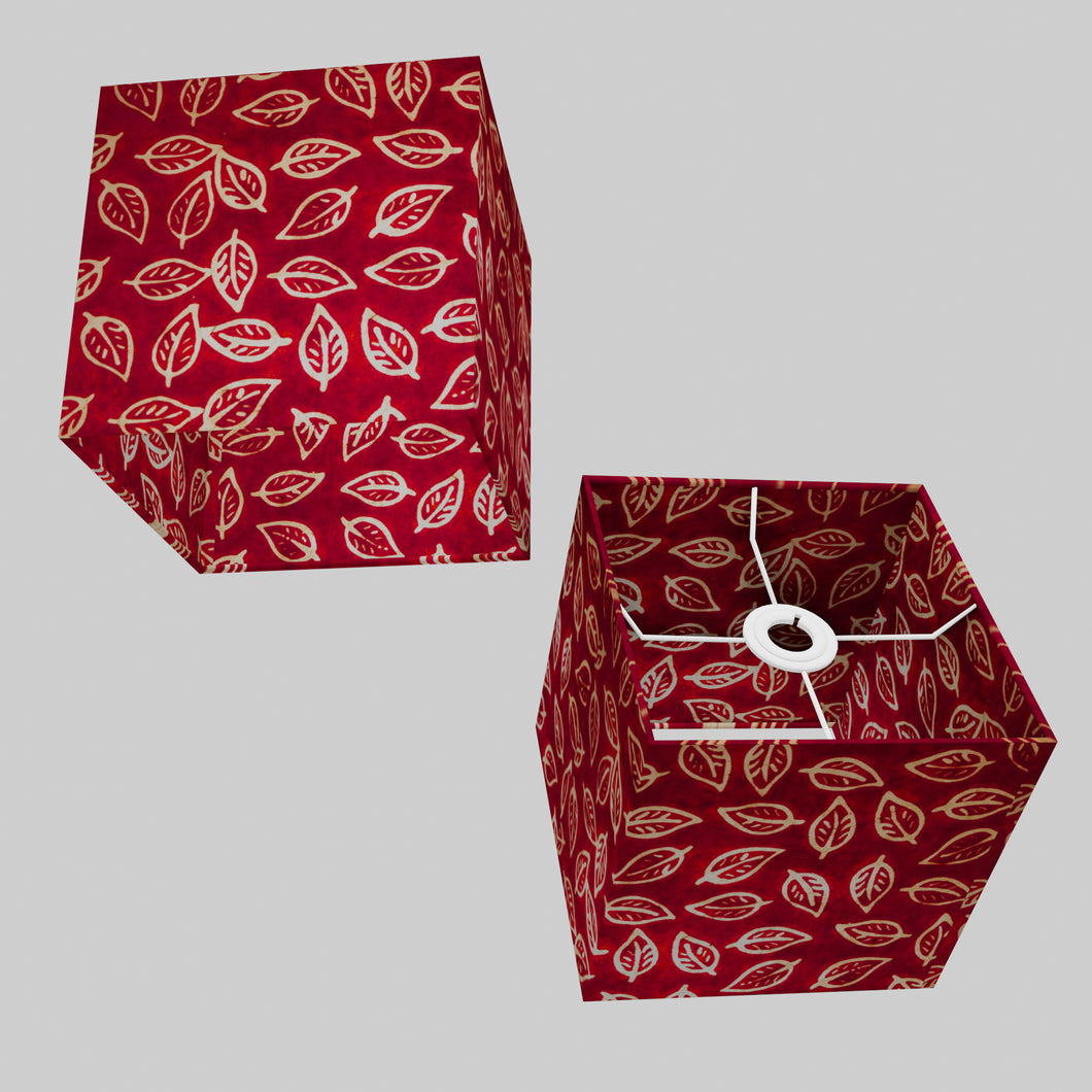 Square Lamp Shade - P30 - Batik Leaf on Red, 20cm(w) x 20cm(h) x 20cm(d)