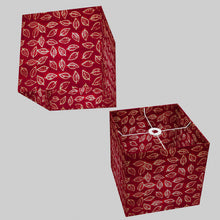 Square Lamp Shade - P30 - Batik Leaf on Red, 30cm(w) x 30cm(h) x 30cm(d)