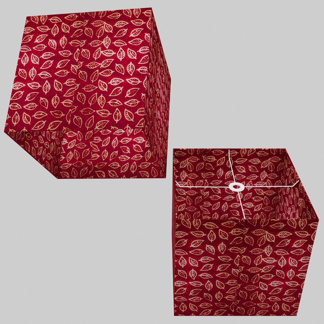 Square Lamp Shade - P30 - Batik Leaf on Red, 40cm(w) x 40cm(h) x 40cm(d)