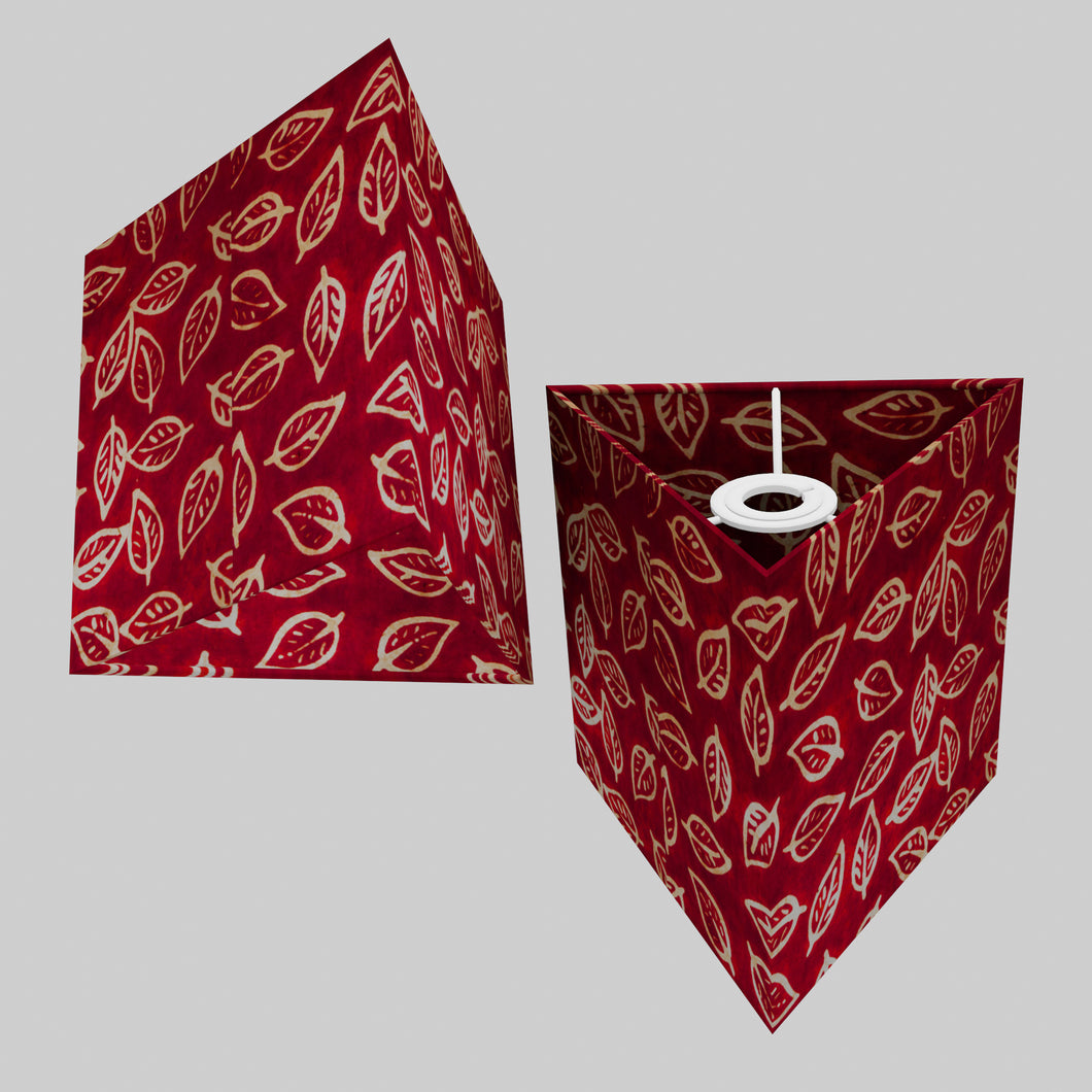 Triangle Lamp Shade - P30 - Batik Leaf on Red, 20cm(w) x 20cm(h)