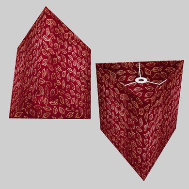 Triangle Lamp Shade - P30 - Batik Leaf on Red, 40cm(w) x 40cm(h)