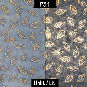 Drum Lamp Shade - P31 - Batik Leaf on Blue, 15cm(d) x 15cm(h) - Imbue Lighting
